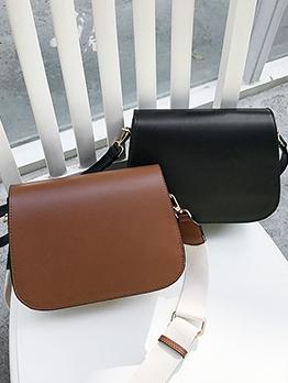Casual Solid Pu Wide Adjustable Belt Shoulder Bags