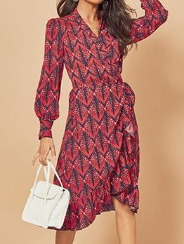 Vintage Lantern Sleeve V Neck Print Ladies Dress