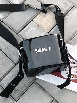 Patent Leather Letter Adjustable Belt Black Shoulder Bags
