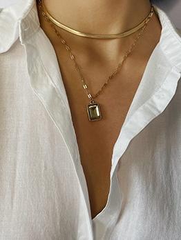 Vintage Geometric Double Layers Necklace Design
