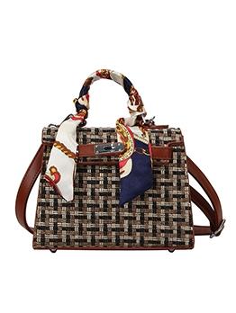 Silk Scarf Handle Woolen Ladies Crossbody Handbags