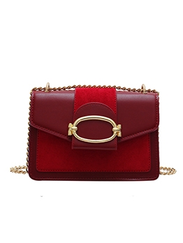 Matt Pu Patchwork Golden Chain Shoulder Bag