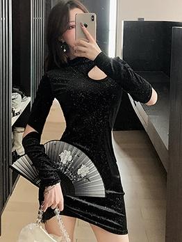 Hollow Out Glitter Black Long Sleeve Velvet Dress