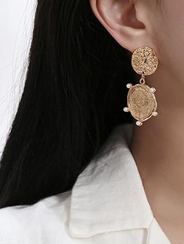 Vintage Curve Faux Pearl Decor Golden Earrings Design