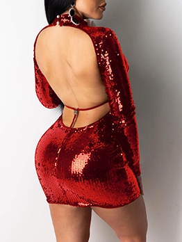 Mock Neck Backless Long Sleeve Sequin Dress