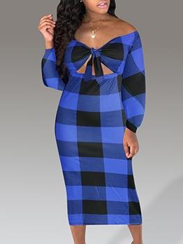 Off Shoulder Tie-Wrap Blue Plaid Maxi Dress