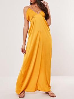 Backless Smart Waist Sleeveless Maxi Dress For Vacation
