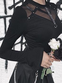 Punk Gauze Patchwork Flare Sleeve Black T-shirt