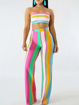 Color Striped Strapless Crop Top And Pants Set