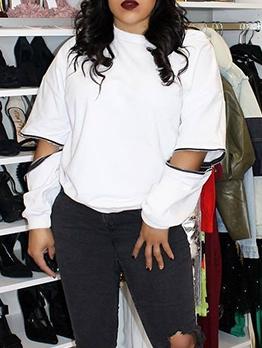 Fashion Zipper Sleeve White Sweatshirt
