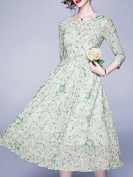 Crew Neck Embroidery Long Sleeve Midi Dress