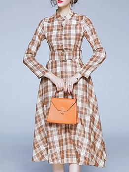 Slim Fit Plaid Long Sleeve Midi Dress