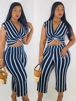 Striped Twist Cropped Womens Two Piece Sets