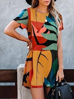 Leisure Color Block Short Sleeve Summer Dresses