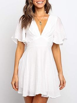 V Neck Open Back White Short Sleeve Dress