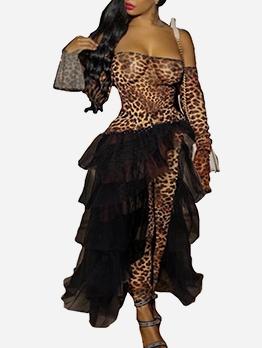 Leopard Print Patchwork Gauze Off The Shoulder Jumpsuit