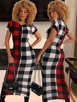 Color Block Plaid Women Short Sleeve Maxi Dress