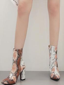 Gradient Chunky Heel Snakeskin Boots