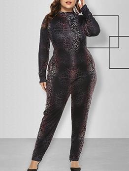 O Neck Animal Print Black Plus Size Jumpsuits