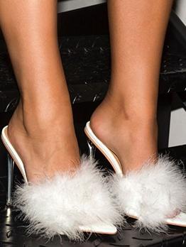 Fluffy Decor Stiletto Womens Slippers
