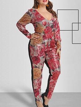 V Neck Sequins Camouflage Flower Casual Jumpsuit