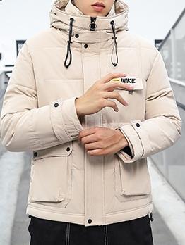 Solid Pockets Hooded Mens Winter Coats