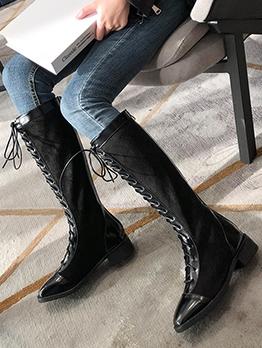 Bandage Square Toe Mid Calf Boots