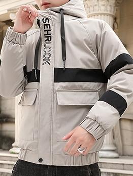 Fashion Color Block Letter Hooded Mens Coats