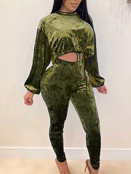Solid Color Velvet Drawstring 2 Piece Pants Set