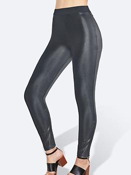 Versatile Elastic Waist Skinny Pu Black Leggings