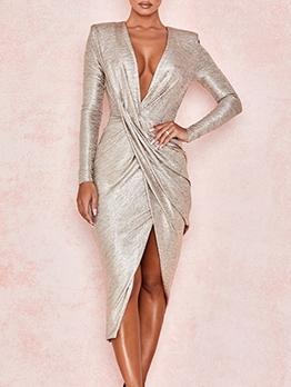 Deep V Neck Fitted Split Hem Gold Sexy Dress