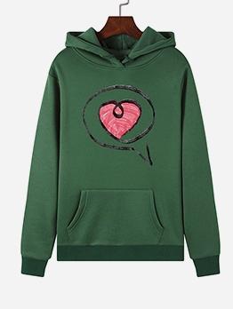 Heart Pattern Casual Hoodies For Women