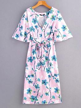 Summer V Neck Floral Tie-Wrap Maxi Dress