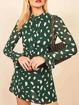 Hot Sale Print Tie Neck Green Long Sleeve Dress