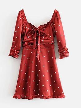 Summer Square Neck Long Sleeve Polka Dots Dress