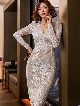 Elegant V Neck Skinny Long Sleeve Lace Dress