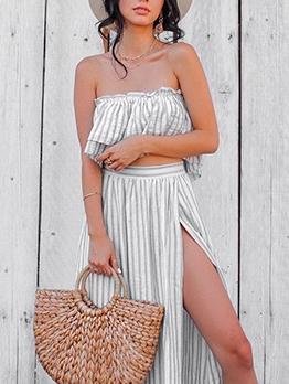 Strapless Striped Split Two Piece Skirt Set