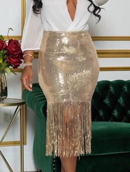 Sequin Tassel Hem Midi Pencil Skirt
