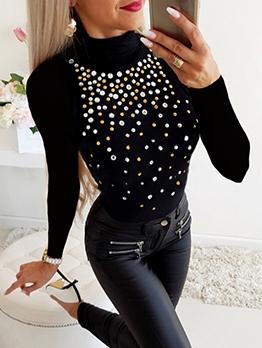 Stylish Rhinestone Decor High Collar t Shirt Design