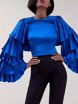 Fashion Solid Ruffled Layered Flare Long Sleeve Blouse