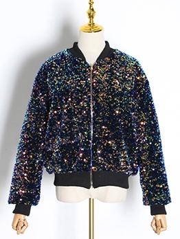 Boutique Loose Sequins Women Bomber Jacket