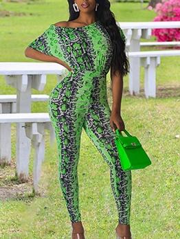 Leopard Printed Incline Shoulder Green Jumpsuit
