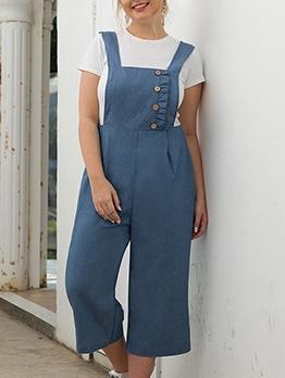 Button Decorated Plus Size Denim Sleeveless Jumpsuit