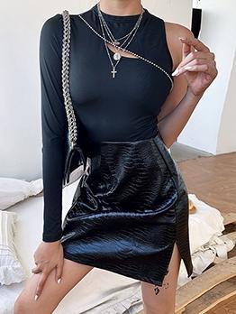 Solid Seed Bead Decor One Shoulder Bodysuit