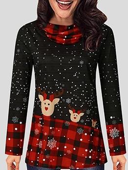 Christmas Deer Printed Heaps Collar Women T Shirt
