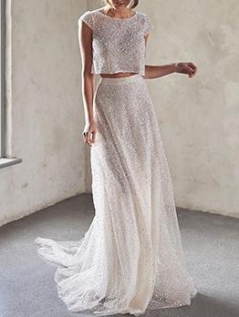 Elegant Glitter White Crop Top And Long Skirt Set