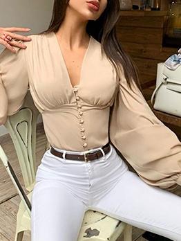 Lantern Sleeve Single-Breasted V Neck Blouse