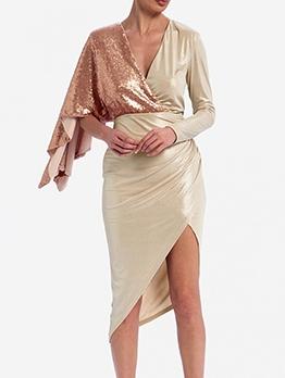 Fashion Irregular Sequin Decor Long Sleeve Cocktail Dress
