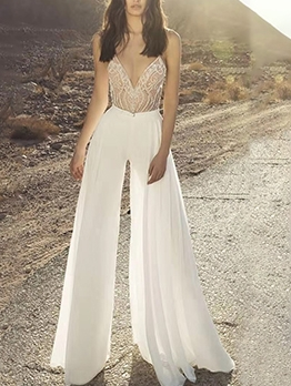 Deep V Neck Straps White Wide Leg Jumpsuits