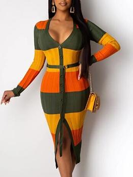 Deep V Neck Contrast Color Long Sleeve Maxi Dress